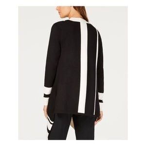 Anne Klein Sweaters - ANNE KLEIN BLACK POINTE TRIM WATERFALL CARDIGAN